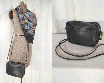 Vintage 1980s Purse - Coach Leather Purse,  Messanger Bag, Cross Body Purse, Small Black Coach Purse 9925, 1990s Purse