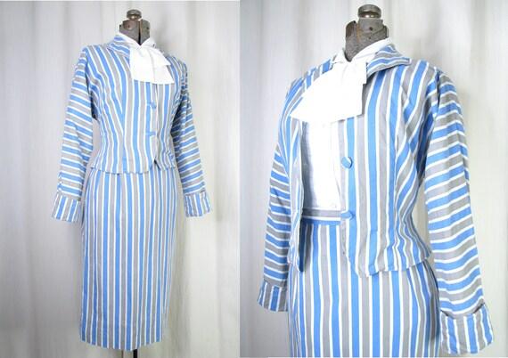 1940s Suit/ Small Dress Set/ Vintage 40s Cotton Sk