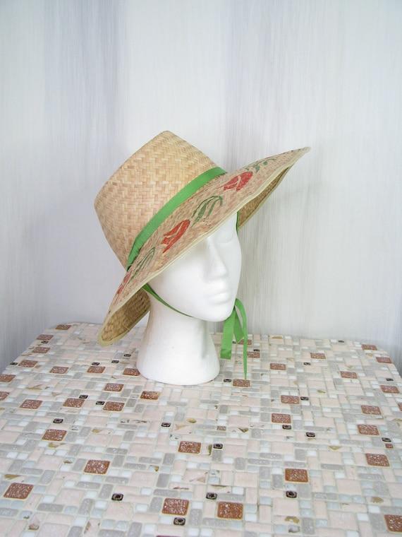 1940s Hat | Straw Wide Brim Sun Hat | 40s Vintage… - image 1
