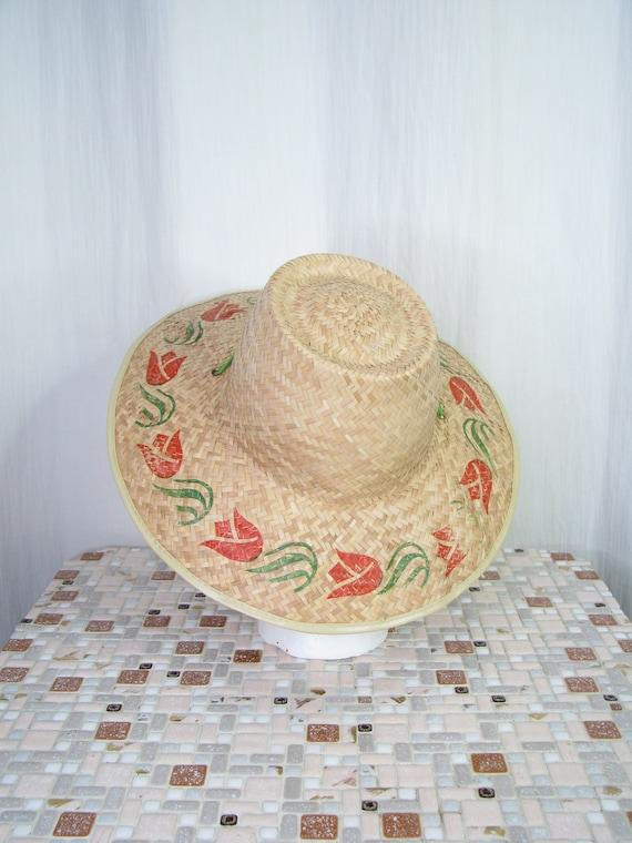 1940s Hat | Straw Wide Brim Sun Hat | 40s Vintage… - image 3