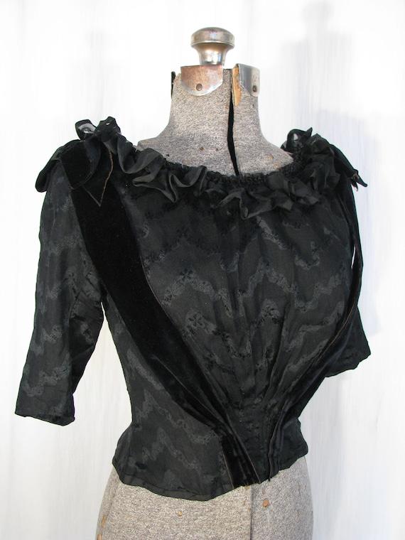1890s Blouse - Victorian Edwardian Blouse, Black … - image 10