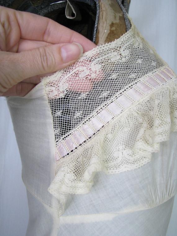 Vintage Nightgown, Bias Cut Cotton Victorian Chem… - image 6