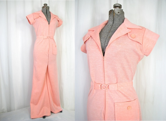 Vintage Jumpsuit, 1970s Womens Wide Leg One Piece