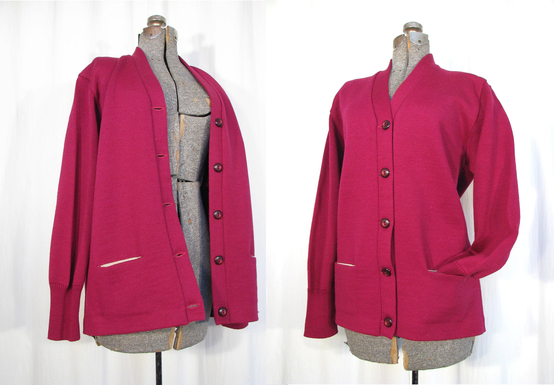 1940s Mens Ties | Wide Ties & Painted Ties Vintage Sweater, 1940S Mens Letterman Cardigan, Large 40S Red Jumper By Kandel $25.75 AT vintagedancer.com