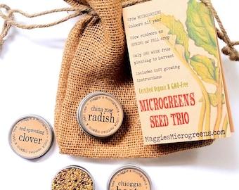 DIY Microgreens CUSTOM Mini Seed Kit Indoor Garden - Choose Any 3 Organic Vegan Gourmet Microgreens Seeds in Burlap Gift Bag w Instructions