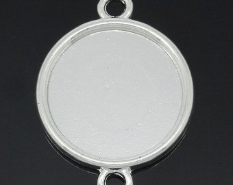 Connectors Findings Round Silver Plated Cabochon Setting(Fits 20mm Dia) 3.2x2.4cm,20PCs