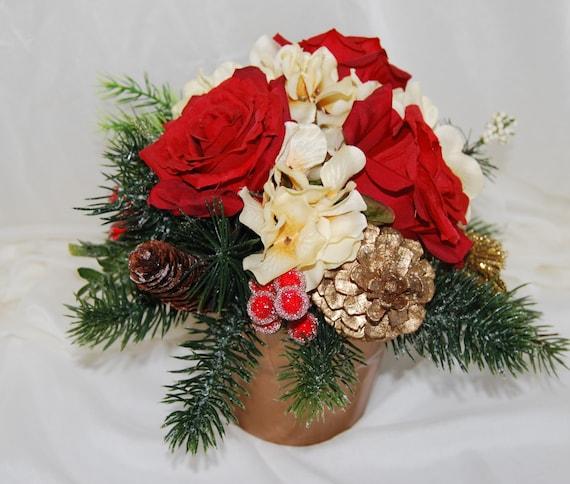 Silk floral arrangement christmas centerpiece christmas etsy image 0 mightylinksfo