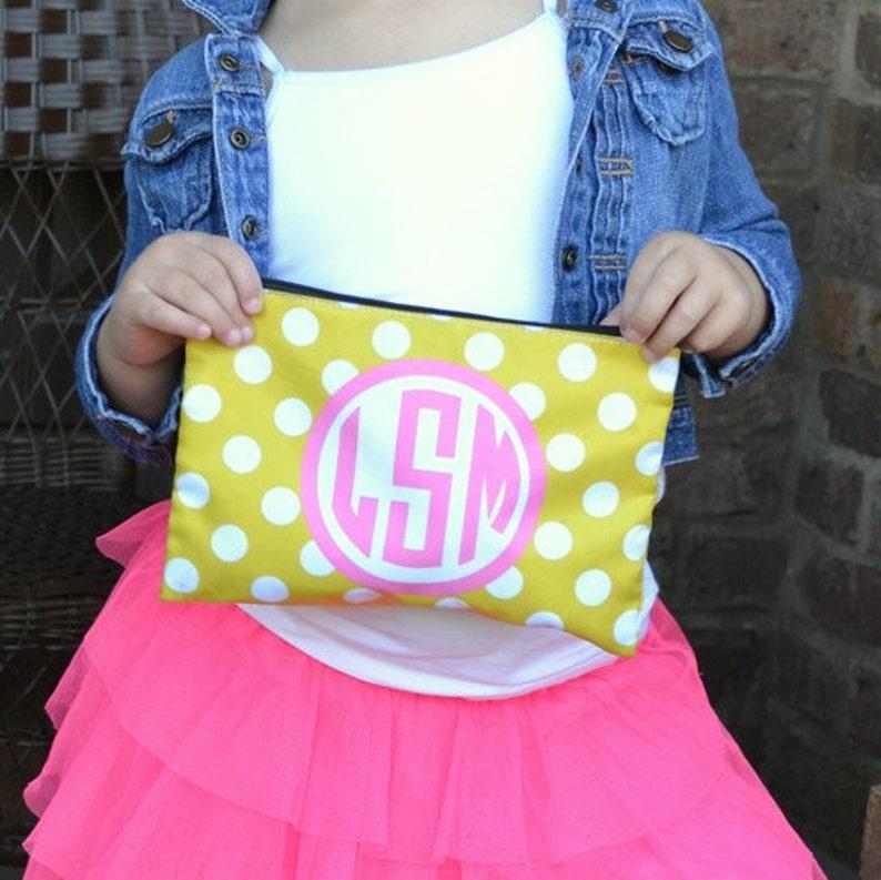 Personalized Large cosmetic bag  Monogram polka dots image 0