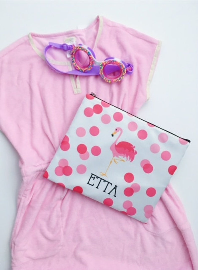 Personalized pool pencil bag  pink flamingo beach bag image 0