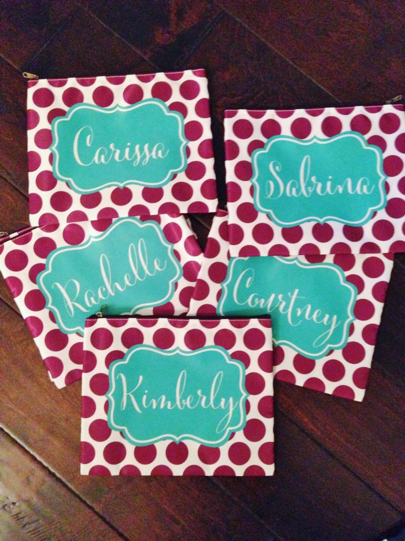 Group of 5 Large Cosmetic Bags  Perfect Party Favor image 0