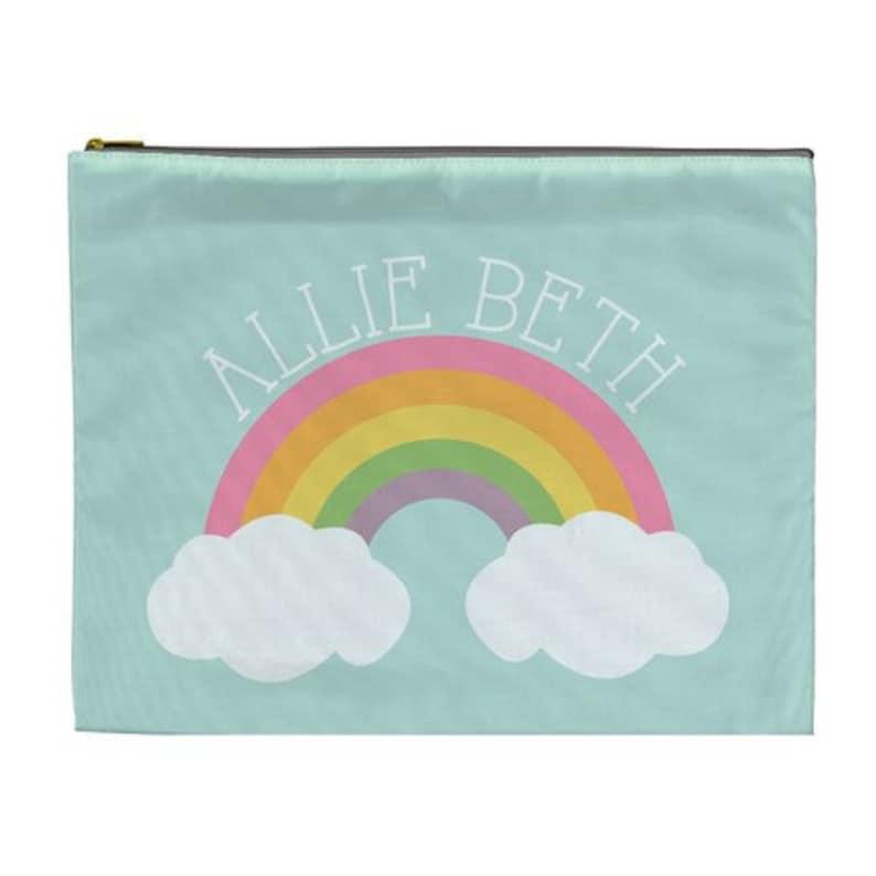 Personalized Large cosmetic bag  rainbow pencil bag pool bag image 0