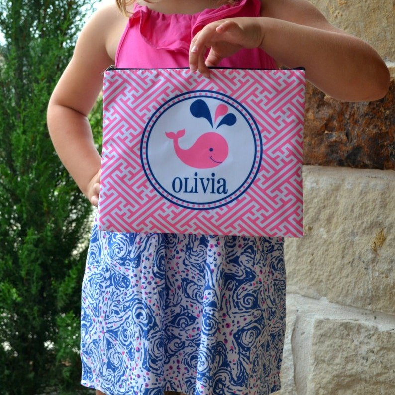 Personalized pencil bag  pink whale pool or beach bag image 0