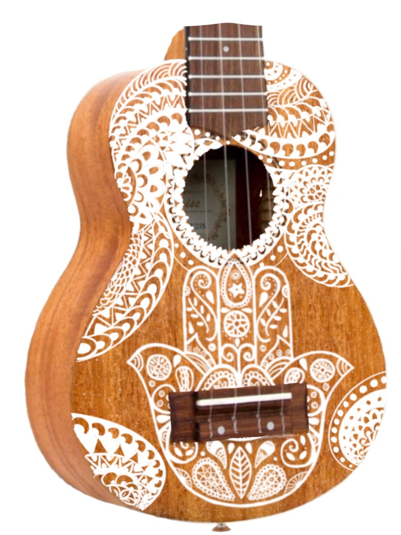 Soprano Hamsa Ukulele Hand Painted Ukulele Decorated image 0
