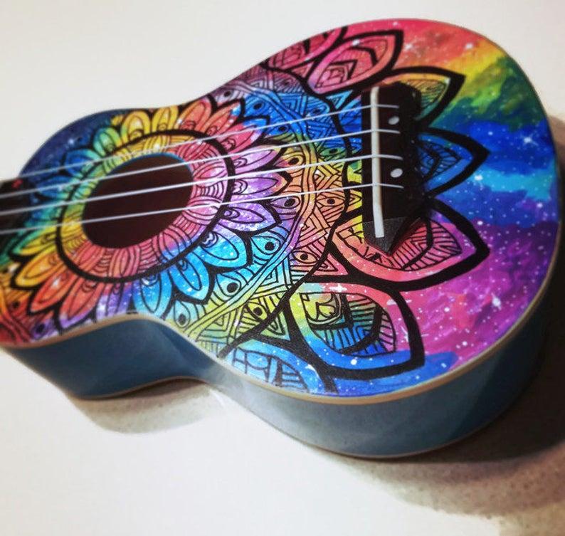 Soprano Rainbow Galaxy Mandala Ukulele Hand Painted Ukulele image 0