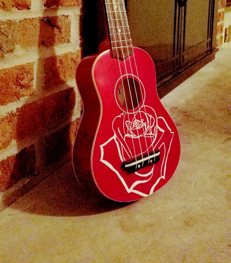 Red Soprano Ukulele instrument deocorated with Hand Painted image 0