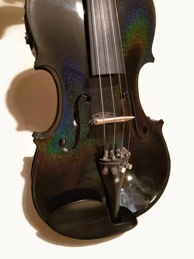 Full Violin Holigraphic Painted Glitter Black Violin image 0