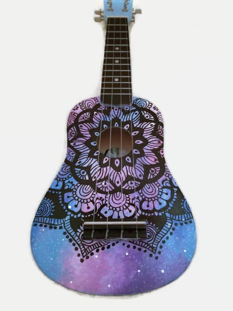 Soprano Galaxy Mandala Ukulele Hand Painted Ukulele image 0