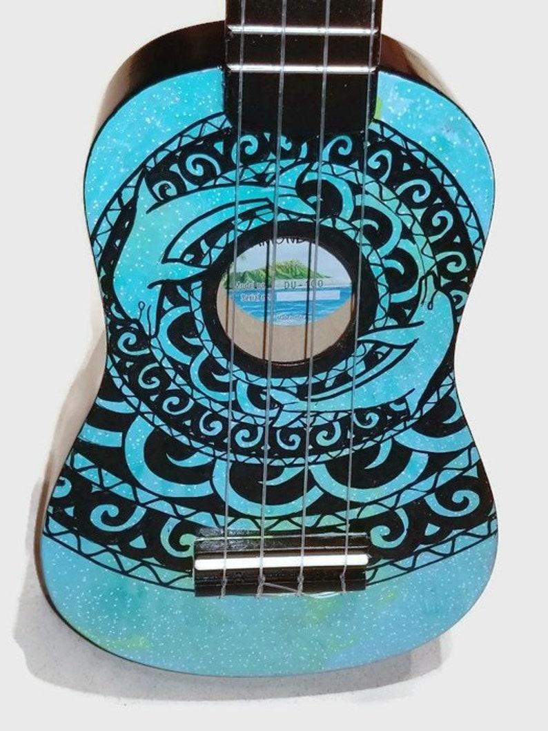 Soprano Ukulele Galaxy Dolphin Mandala Hand Painted image 0