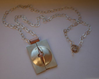 Sterling Silver and Copper Pendant on long chain