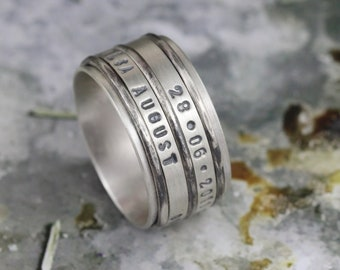 Men's Spinner Ring, Father's Day Gift for Dad Father, Sterling silver, 25 year anniversary,  Personalized Names Dates Quote, Custom Made