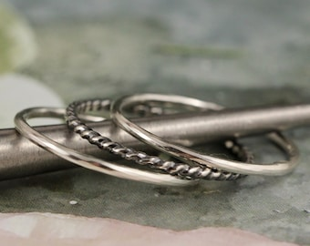 Size 7.5-3 Skinny Stacking Ring Set Oxidized Sterling Silver Tarnished Skinny Rings Ready to ship