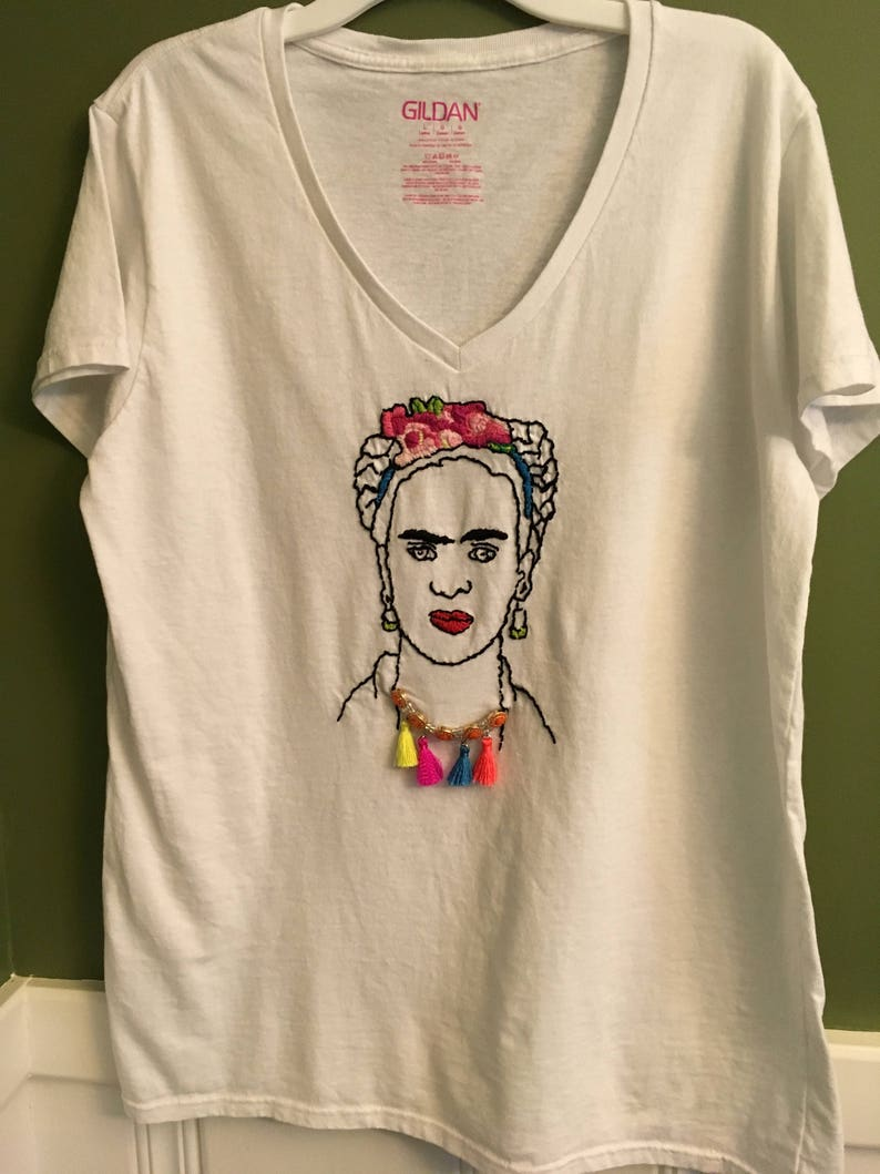 cf6eb71f Embroidered V-neck Tshirt with Frida Kahlo and Flowers and | Etsy
