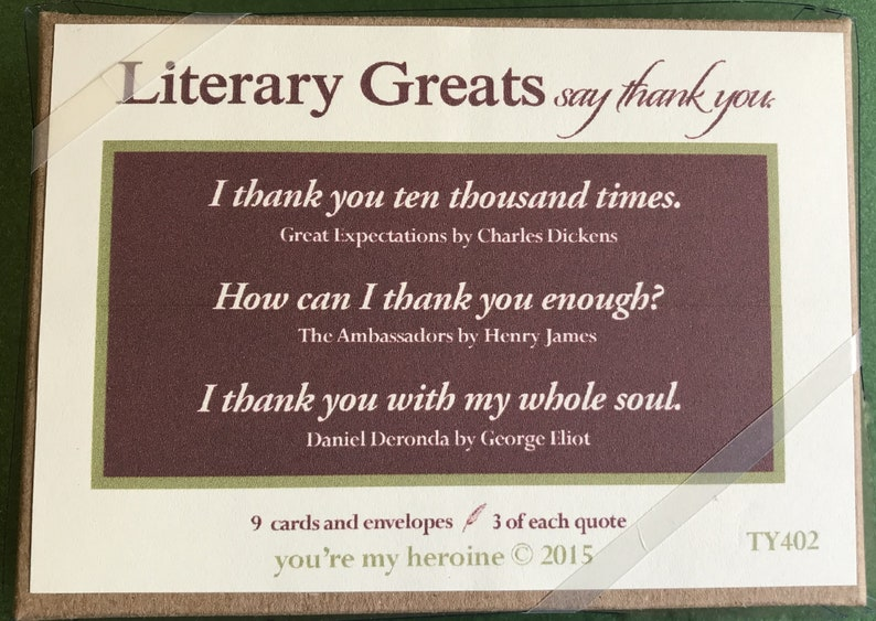 TY 402 Literary Greats Say Thank You Box of 9 cream color folded notes and envelopes