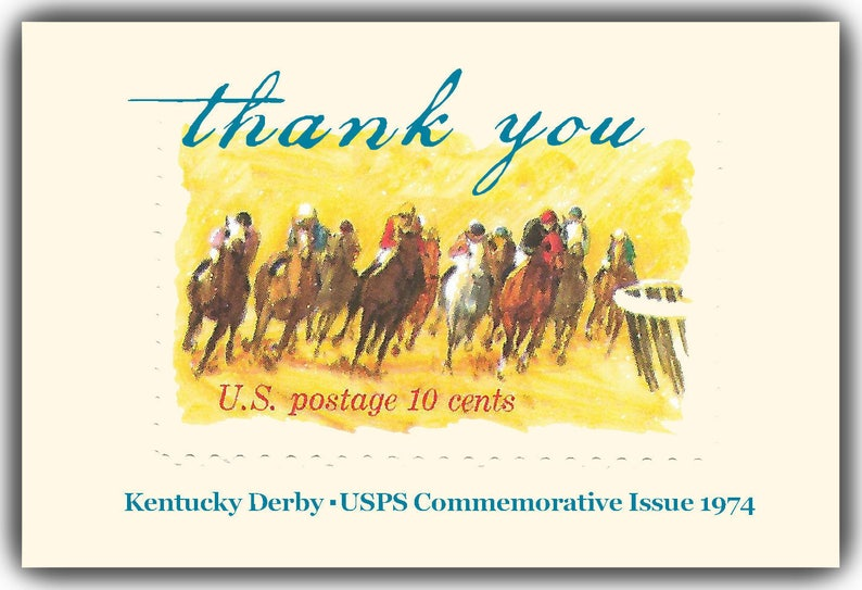 KY 101 Kentucky Derby Set of 8 Thank You Notecards.