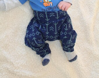 6-12month Harem Pants, Aqua Stitch Arrows on Navy Blue, Baby and Kids Harem Pant Leggings