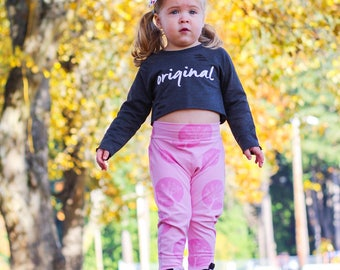 Pink Trees Harem Pants, Baby and Kids Harem Pant Leggings, Grow Wild, Tree Hugger Yoga Pants