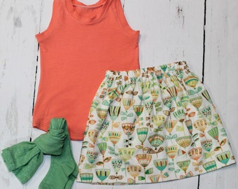Boho Floral Skirt in Green, Girls Cotton Skirt, Tulip Print Girls Skirt, Knee Length Skirt, Toddler, Baby Skirt, Basics, Hudson in Leaf