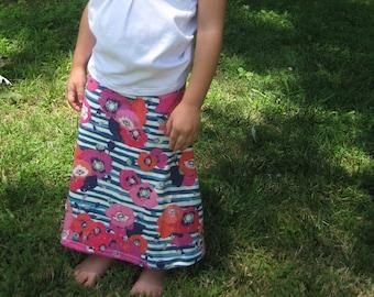 2T/3T Fuchsia Floral Stripe Maxi Skirt, Girls Full Length Skirt