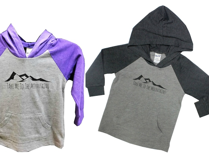 Featured listing image: Take Me To The Mountains Kids Hoodie in Grey or Purple, Mountain T Shirt, Baby and Kids Tees, Into the Mountains, Mountain Hooded Tee