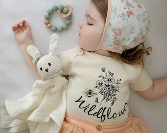 Be a Wildflower Kids ORGANIC baby bodysuit, Baby and Kids Tees, Flowers, Boho Floral, Bouquet Bodysuit