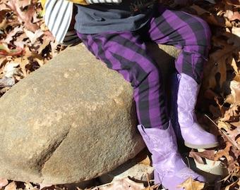 Purple and Black Buffalo Plaid Harem Pants, Baby and Kids Harem Leggings