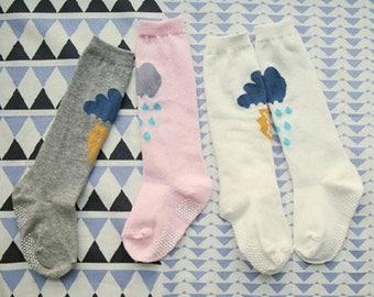 Rainy Day Knee High Socks, Little Knee Socks, Girls Socks, Clouds, Lightening, Rain Cloud Socks, Stormy Socks
