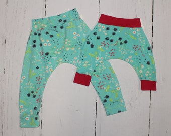 3-6month - Turquoise Blossoms Harem Pants, Baby and Kids Harem Pant Leggings, Baby Wildflower Blossoms