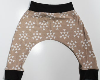 Almond Triangle Arrow Harem Pants, Baby and Kids Harem Pant Leggings, Geometric Print, Gender Neutral, Beige white brown