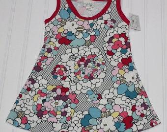 2T - Pop Retro Floral Knit Tank Dress, Girls Floral Tank Top Dress, Spring Summer Dress