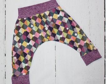Linear Diamonds Harem Pants, Baby and Kids Harem Pant Leggings, Colorful Diamond Print in Purples, Pinks, Aqua, Yellow and more