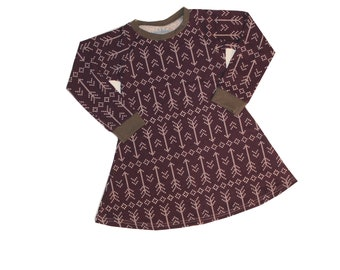 5T - Plum Stitched Arrow Long Sleeve Dress, Girls Knit Dress, Fall Winter Dress, Play Dress