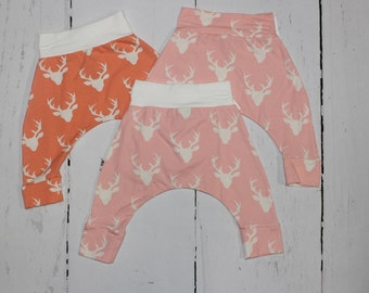 3-6m Girls Deer Harem Pants, Baby and Kids Harem Pant Leggings, Buck Forest in Pink and Coral