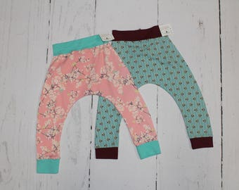 2T Harem Pants, Baby and Kids Harem Pant Leggings, Cherry Blossom Pink, Vintage Blue Floral Stipe