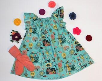 Greenhouse - Boho Flutter Sleeve Peasant Dress, Butterfly Sleeve Dress, Woven Girls Dress, Garden House, Gardening