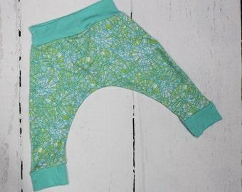 Aqua Swirl Baby Harem Pants, Baby and Kids Harem Pant Leggings, Aqua Blue Green Harems, Water Pool