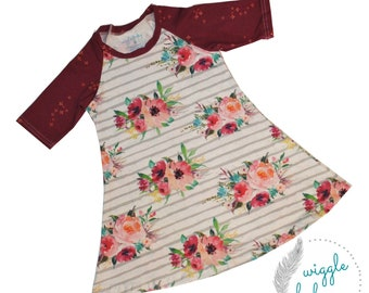 Striped Watercolor Floral Raglan Dress, Girls Knit Raglan Dress, Raspberry, Peach and Turquoise Watercolor Floral Stripe Boho Dress