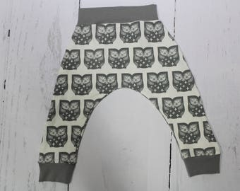 4T and 5T Left, Hoot Grey Owl Harem Pants, Baby and Kids Harem Pant Leggings, Owl Pants, Baby Owls