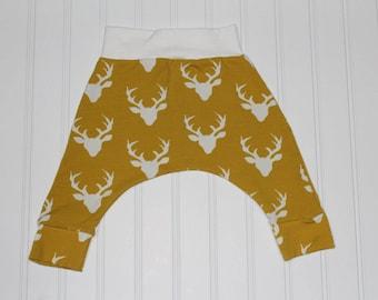 6-12m Deer Harem Pants, Mustard Buck Forest, Baby and Kids Harem Pant Leggings