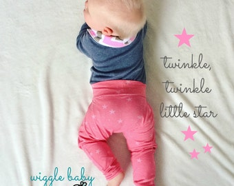 Harem Pants, Lucky Stars on Pink, Baby and Kids Harem Pant Leggings