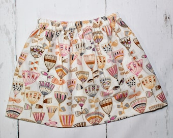 6/7 - Boho Floral Skirt in Mauve, Girls Cotton Skirt, Tulip Print Girls Skirt, Knee Length Skirt, Toddler, Baby Skirt, Basics